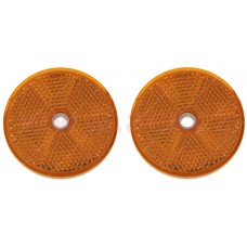Odrazka guľatá oranžová s dierou 60mm/2KS